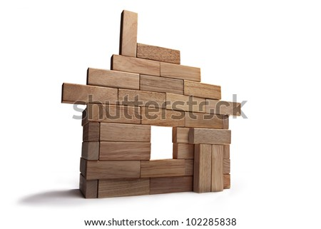 layout of the house out of wooden sticks - stock photo