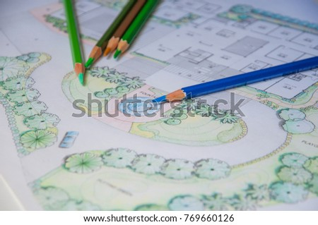 Layout Plan Of Home Landscape Design Or Garden Design Drawing By Color  Pencil On White Paper