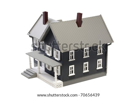 Layout simulating residential building on a white background. - stock photo