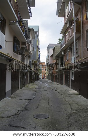 Lazarevskoye district, Sochi, Russia - September 15, 2013: Garages turned into three-storey houses in the South of Russia
