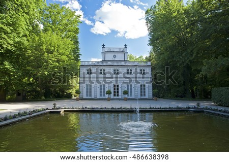 Lazienki Park in Warsaw, classic villa by water pool