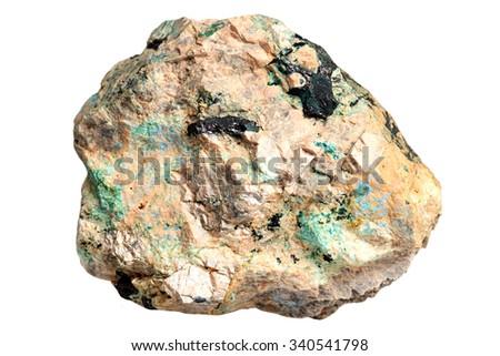 Lazurite, malachite, azurite copper minerals in rock - stock photo
