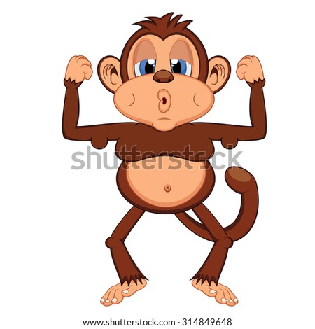 lazy and fat monkey - stock photo