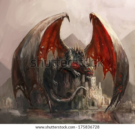 lazy dragon sleeping on casatel  - stock photo