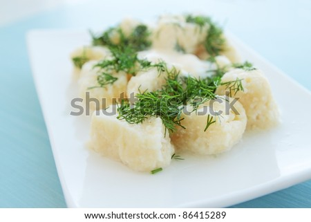lazy dumpling from the cottage cheese with the dill - stock photo