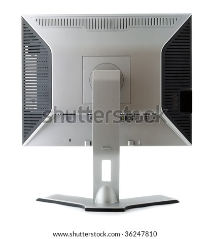 LCD display back view isolated on white background - stock photo