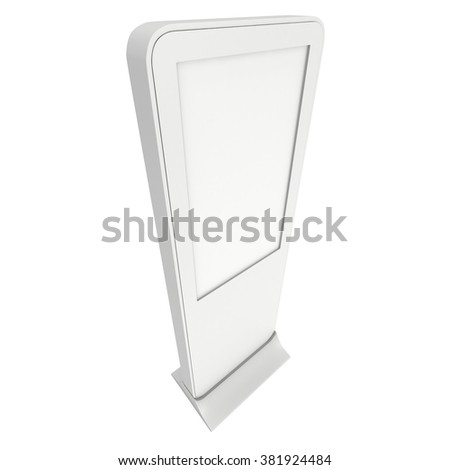 LCD Display Expo Stand. White and Blank LCD Trade Show Booth. 3d render isolated on white background. High Resolution LCD. Ad template for your expo design.