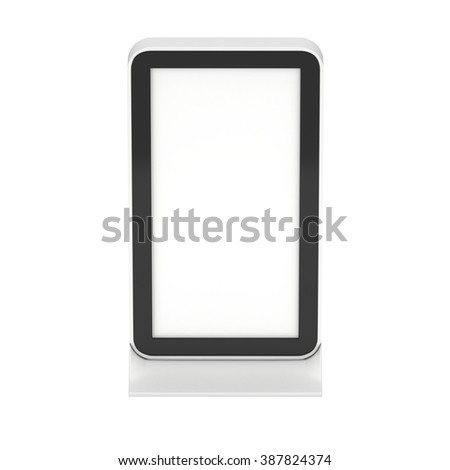 LCD Kiosk Stand. Blank Trade Show Booth. 3d render isolated on white background. High Resolution. Ad template for your expo design. - stock photo