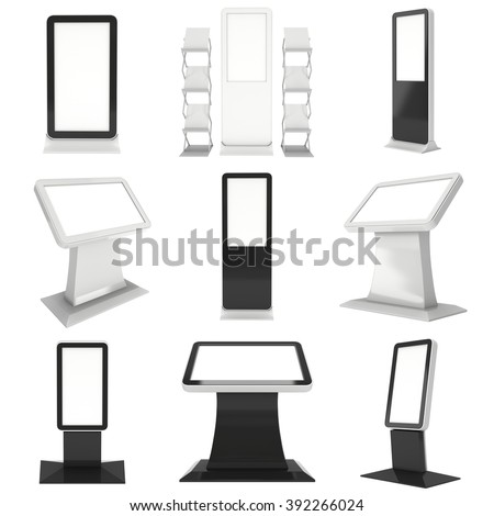 LCD Kiosk Stand. LCD Kiosk 3d. LCD Kiosk JPEG. LCD Kiosk Object. LCD Kiosk Picture. LCD Kiosk Image. LCD Kiosk Expo. LCD Kiosk JPG. LCD Kiosk Render. Trade Show Booth Set isolated on white - stock photo