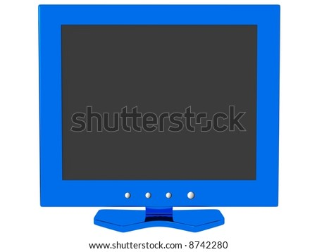 LCD Monitor - Blue - stock photo