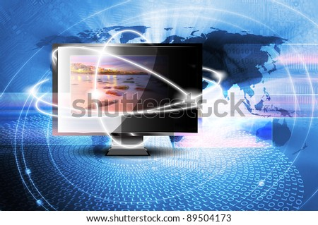LCD monitor isolated with picture on screen