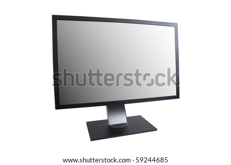 LCD monitor with empty screen isolated on white