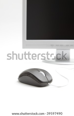 LCD Monitor with mouse - stock photo