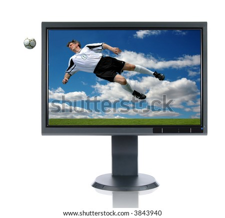 LCD monitor with soccer concept over a white background