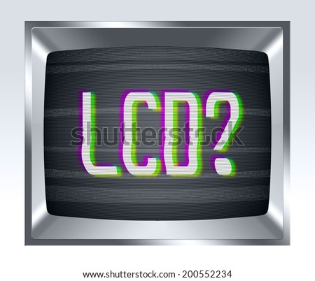 LCD on old tv screen with noise - stock photo