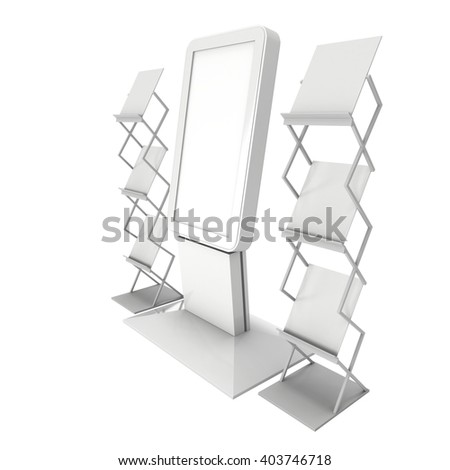 LCD Screen Floor Stand. Blank Trade Show Booth. 3d render of lcd screen isolated on white background. High Resolution Floor Stand. Ad template for your expo design. - stock photo
