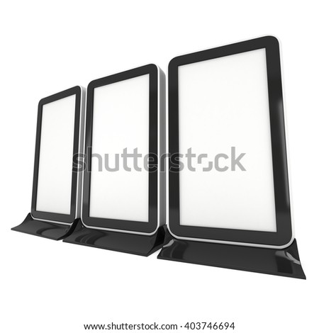 LCD Screen Floor Stand Group. Blank Trade Show Booth. 3d render of lcd screen isolated on white background. High Resolution Floor Stand. Ad template for your expo design. - stock photo