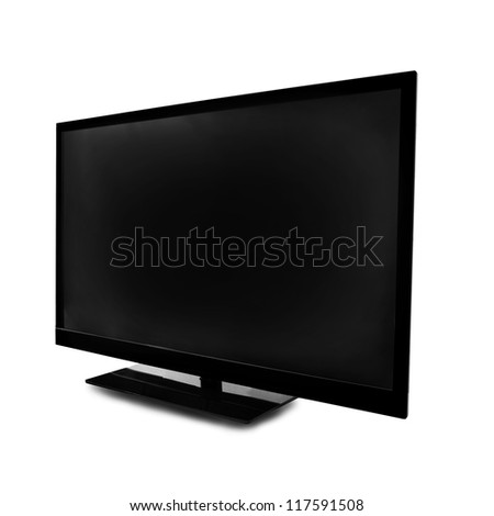 lcd screen monitor on white background - stock photo