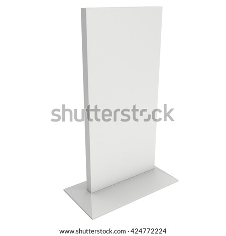 LCD Screen Stand. Blank Trade Show Booth. 3d render of lcd screen isolated on white background. High Resolution. Ad template for your expo design. - stock photo
