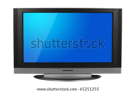 LCD television isolated in white background. Clipping path included for the screen and television.