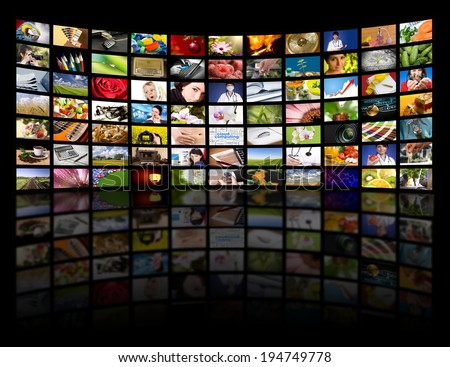 LCD TV panels. Television production technology concept.  - stock photo