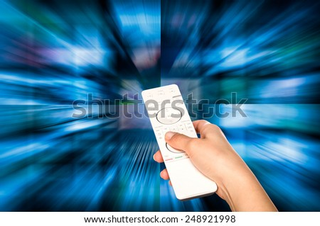 LCD TV panels. Television production technology concept. Remote control. - stock photo