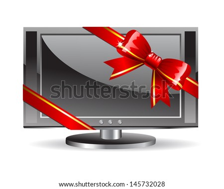 LCD TV with a shiny red bow. Raster version. Vector is also available in my gallery - stock photo