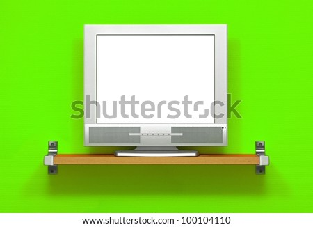 LCD TV with blank white screen - stock photo
