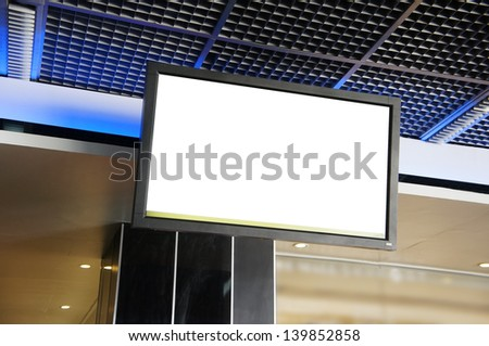 LCD TV with empty copy space at airport - stock photo