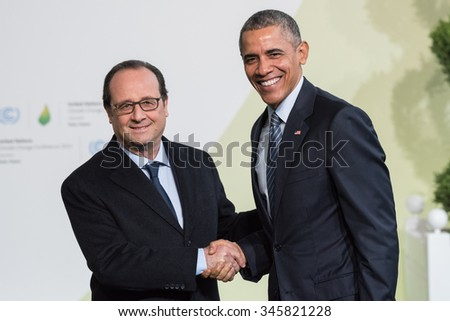LE BOURGET, FRANCE - NOVEMBER 30, 2015 : French President Francois Hollande and Barack Obama, President of United State of America at the Paris COP21, United nations conference on climate change. - stock photo