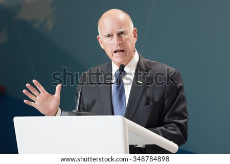 LE BOURGET near PARIS, FRANCE - DECEMBER 7, 2015 : Governor of California Jerry Brown at the Paris COP21, United nations conference on climate change.