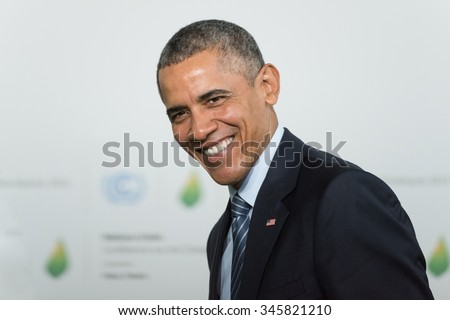 LE BOURGET near Paris, FRANCE - NOVEMBER 30, 2015 : Barack Obama, President of United State of America at the Paris COP21, United nations conference on climate change. - stock photo