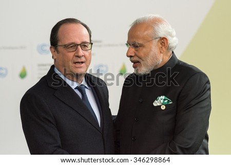 LE BOURGET near PARIS, FRANCE - NOVEMBER 30, 2015 : French President Francois Hollande welcome Prime Minister of india Narendra Modi at the Paris COP21, United nation conference on climate change.