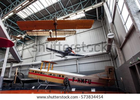 LE BOURGET,  PARIS, FRANCE - OCTOBER 8, 2016 : Old Retro Airplane in the Museum of comonautic and aviation Le Bourget in Paris