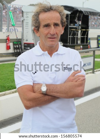 LE CASTELLET, FRANCE - SEPTEMBER 28: Four-time Formula 1 world champion Alain Prost during the World Series by Renault event at Circuit Paul Ricard HTTT, September 28, 2013 in Le Castellet. - stock photo