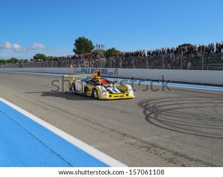 LE CASTELLET, FRANCE - SEPTEMBER 29: The 1978 Renault Alpine A443 prototype on the finish straight during the World Series by Renault Classic show event on September 29, 2013 in Le Castellet, France. - stock photo
