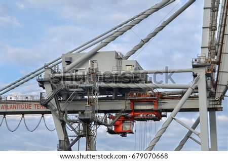 Le Havre, France - April 29: Cargo crane of the container terminal in port of Le Havre on April 29, 2017  in Le Havre, France.