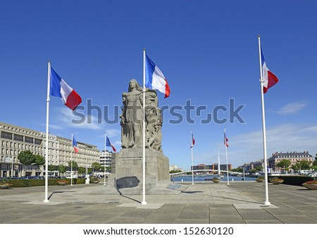 LE HAVRE, FRANCE - AUGUST 13: The Monument aux morts (War memorial) in Le Havre on August 13, 2013 in Normandy, France. The modern architecture of the city is a UNESCO World Heritage Site