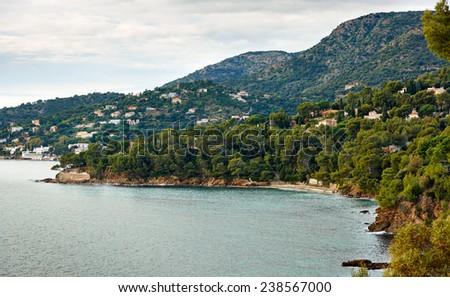 Le Lavandou - sea resort on the Mediterranean coast of France, French Riviera - stock photo