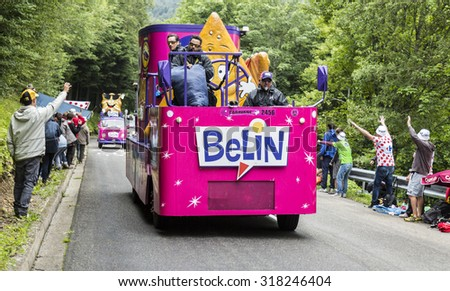 LE MARKSTEIN, FRANCE - JUL 13: Belincaravan during the passing of the Publicity Caravan on the road to mountain pass Le Markstein  during the stage 9 of Le Tour de France on July 13, 2014 - stock photo