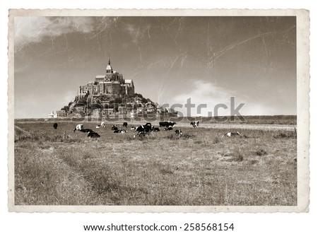 Le Mont Saint Michel Abbey, Normandy, Brittany, France Vintage photo - stock photo