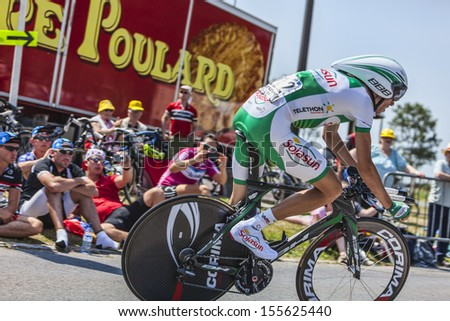 LE MONT SAINT MICHEL,FRANCE-JUL 10: The French cyclist Anthony Delaplace from Sojasun Team cycling during the stage 11(time trial Avranches -Mont Saint Michel) of Le Tour de France on July 10, 2013 - stock photo
