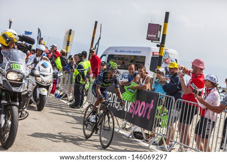 LE MONT VENTOUX, FRANCE-JUL 14: The cyclist Nairo Alexander Quintana Rojas  (Movistar Team), climbing  the ascension to Mont Ventoux during the stage 15 of Le Tour de France on July 14 2013.