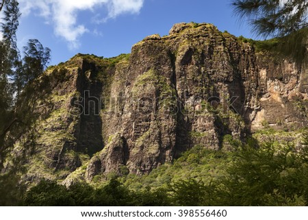 Le Morne Brabant mountain on the south of Mauritius - stock photo