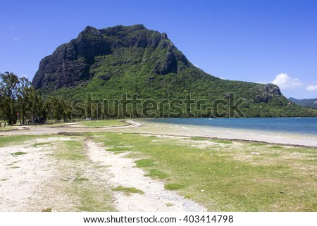 Le Morne mountain on the south shore of Mauritius