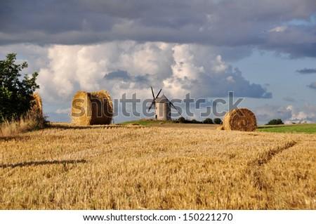 Le Moulin de Moidre, Old windmill near Mont-Saint-Michel in France - stock photo