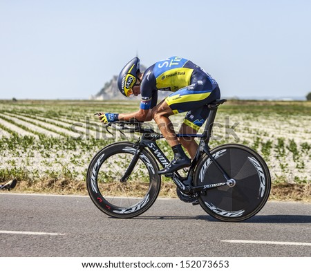 LE PONT LANDAIS,FRANCE-JUL 10: The  cyclist Roman Kreuziger cycling during the stage 11(time trial Avranches -Mont Saint Michel) of the edition 100 of Le Tour de France on July 10, 2013