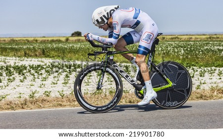 LE PONT LANDAIS,FRANCE-JUL 10:The Dutch cyclist Tom Dumoulin from Argos-Shimano Team cycling during the stage 11(time trial Avranches -Mont Saint Michel) of Le Tour de France on July 10, 2013 - stock photo