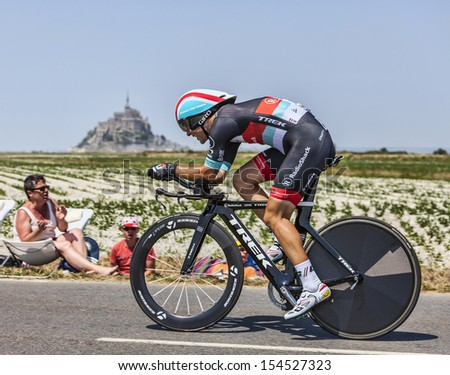 LE PONT LANDAIS,FRANCE-JUL 10:The French cyclist Tony Gallopin from RadioShack-Leopard Team cycling during the stage 11 (time trial Avranches -Mont Saint Michel) of Le Tour de France on July 10, 2013