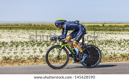 LE PONT LANDAIS,FRANCE- JUL 10: The Spanish cyclist Alejandro Valverde  cycling during the stage 11 of Le Tour de France, a time trial between Avranches and Mont Saint Michel on July 10 2013.